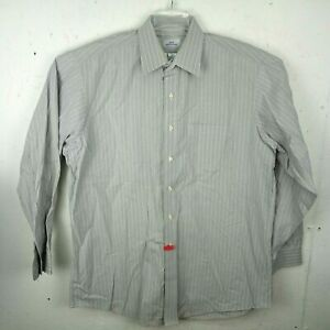 Brooks Brothers 346 Mens XL 17 34 35 Button Up Dress Shirt Gray Stripe Non Iron