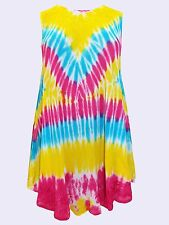 NEW Eaonplus Yellow/Pink Embroidered Batik Tie-Dye Summer Tunic FreeSize 14-22