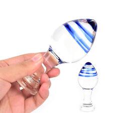 Blue Glass Dildo Penis G-Spot Clitoral Masturbation Anal Butt Plug Sex Toy