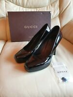 Ladies Gucci Shoes Black Patent Platform Heels   UK  6      Eur  39