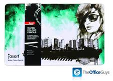 Jasart® Premium Watercolour Pencils Assorted Designer Tin of 36 FREE Delivery
