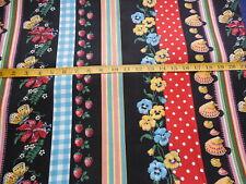 Vintage Free Association Multi Stripe Fabric on Black By The Yard
