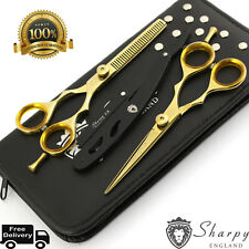 "New Professional Barber Hairdressing Scissors Set 5.5"" Gold Edition & Razor Kit"