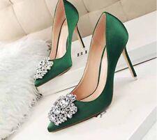 New Women Satin High Heels Pointed-toe Stiletto Rhinestone Buckle Pumps OL Shoes