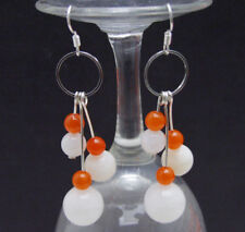 SALE 8-14mm White Round Natural Moonstone and Red Jade Silver S925 earring-ea693