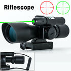 Tactical 2.5-10x40 Rifle Scope Green Laser Dual illuminated Mil-dot Rail Mount