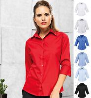 Ladies Womens 3/4 Sleeve Poplin Shirt Blouse - Office Business Smart Casual Wear