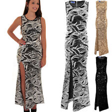 Womens Sleeveless Sequin Lined Long Bodycon Side Split Sexy Formal Maxi Dress