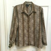 Milano Animal Print Shirt Size XL Button Down Long Sleeve Blouse