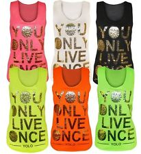 New Ladies Fluorescent Colour Age Out Racer Back Yolo Foil Print Vest Tops 8-14