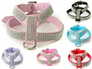 DOG DIAMANTE DOG PUPPY HARNESS WIDE STRAPS SMALL XS RED LILAC PINK BLACK