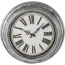 """Gray Brushed Oil Rubbed Large Oversized 20"""" Round Wall Clock, Modern Rustic- NEW"""