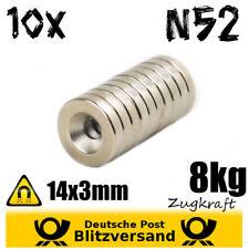 10x Neodym Magnet Scheibe D14x3 mit Senkung 8kg N52 – magnetische Wandhalterung