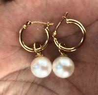 14K GOLD 7-8mm perfect round white Australia south sea pearl dangle earring