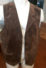 PAUL FREDRICK leather suede button front vest nylon back belt two pockets Med
