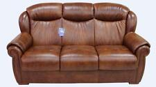 Palermo 3 Seater Tabak Brown Italian Leather Sofa Settee