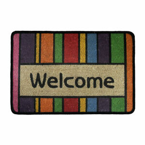 Rainbow Colorful Stripes Welcome Doormat Indoor/Outdoor Carpet Floor Mat Bathrug