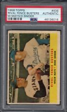 1958 Topps #436 Willie Mays / Duke Snider PSA AUTHENTIC Rival Fence Busters