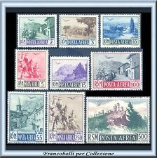 1950 San Marino Posta Aerea Vedute Serie completa n. 83/91 Nuovi Integri **