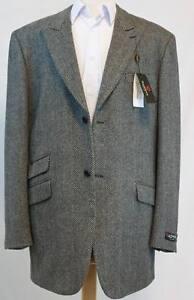 "Raspinni Men""s Gray Herringbone 3/4 length 2 Button Wool Cashmere Overcoat"
