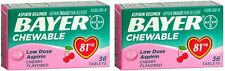 2 Pack Bayer Chewable Low Dose Child Aspirin 81mg Tablets Cherry 36 Tablets Each
