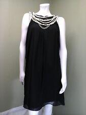London Times Women's Black Chiffon Dress W/ Built-in Pearl Necklace~Size 10