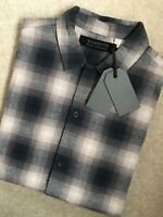 "ALL SAINTS NAVY CHECK ""PIKEVILLE"" SHORT SLEEVE SHIRT TOP - S & M - NEW & TAGS"