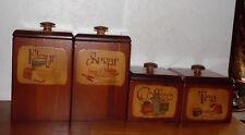 4 Vintage Retro Wooden Kitchen Canister Set Flour Sugar Tea Coffee