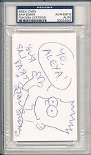 Psa/Dna Signed Index Card Sam Simon W/ Bart Sketch i6041