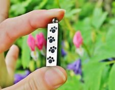 Pet Cremation Urn Pendant Mens Unisex Vial Cat Dog Ashes Jewelry Paw Prints Paws