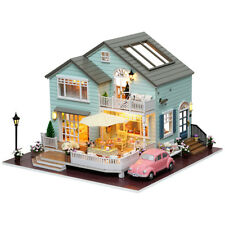 Wooden Doll House With Furniture Details Set Miniature DIY Mansion Car Toys Gift