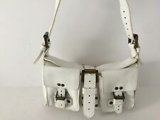 MULBERRY Authentic White Pebbled Leather Buckle Flap Satchel Shoulder M/S bag