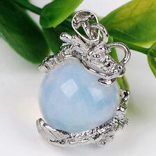 15mm Opal Opalite Perlen Anhänger Silber Drachen Pendant Schmuck für Halskette