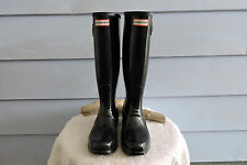 Women's Tall Hunter Rain Boots Black Gloss Size 7