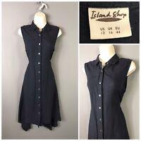 Island Shop Navy Retro Sleeveless Dress 50% Linen UK 16 EUR 44 USA 12