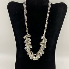 """Necklace 7"""" of Multi Tear Drop Stones From 18"""" Silver Tone Collar Length Chain"""