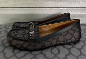 COACH Black Olive Signature Canvas Logo Leather Monogram Loafers