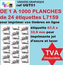 De 1 a 1000 planches d' Étiquettes 63.5 X 33.9 pour timbre planche de 24 L7159
