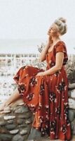 Free People All I Got Maxi Dress Retro Floral Botanical Tiered Plunge OB560654