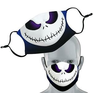 Jack Skellington Halloween Face Mask Double Layer Washable Filter Face Cover