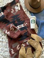 M Boho Cowichan Ralph Blanket Cardigan Sweater Womens Vtg 70s Insp MEDIUM