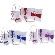 Wedding Ribbon Flower Girl Basket Ring Pillow Guest Book Pen Garter Sets Decor