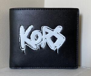 New Michael Kors Cooper Men's Billfold wallet Vegan Faux Leather Black / White