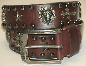 New Mens Brown Leather Studded SKULLS AND CROSS Belt Size 36 inch 91 cm (SB120)