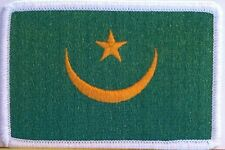 Mauritania Flag Patch With VELCRO® Brand Fastener  Military White Border #7