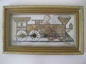 Horological Collage Train Engine Phantom 1857 By D. Eddington London Handmade