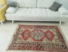 """Pre-1900s Antique 3'5""""x5'4"""" Wool Pile Tribal Rug for Collectors"""