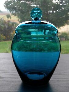 Turquoise Glass Acorn Shape Apothecary Storage Jar w/ Leaf Type Knob Lid