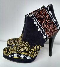 Women's Zeyzani Black Velvet Ankle Stiletto Closed Toe Boots Size 36/5.5-6