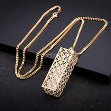 Fashion Women Real Gold Plated Rectangle Box Chain Sweater Necklace Jewelry